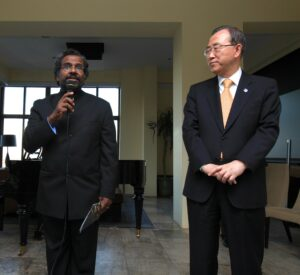 Music for Life International artistic director George Mathew with United Nations Secretary-General Ban Ki-moon